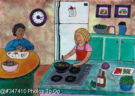 Illustration: Helping Mom in the kitchen